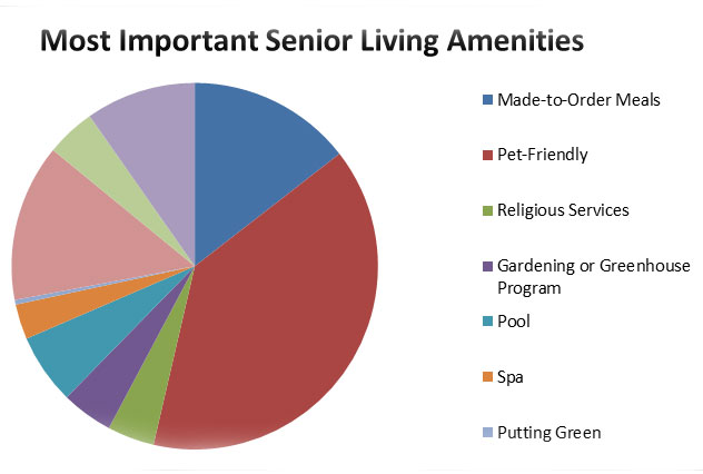 pie graph displaying results for voted most important senior living amenities