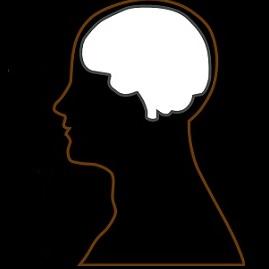 Human head with brain highlighted