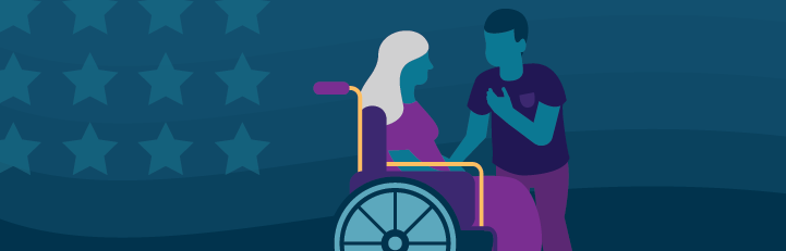 Illustration of caregiver aiding a veteran in a wheelchair. Subtle patriotic background.